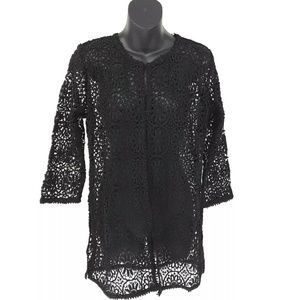 Gretchen Scott Dress Women M New Black Lace Cover